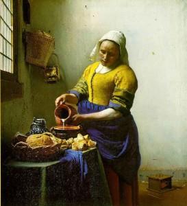 """""""La laitière"""", Vermeer (XVIIe s.). Les Pays-Bas se spécialisent dans les produits laitiers"""